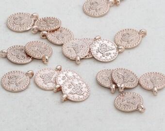 Rose Gold Pendant ROSE338 30 Pcs 10mm Rose Gold Ottoman Coins Coins
