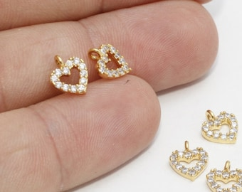 CCH-116 Earring and Bracelet CZ Charm for Necklace Micro Pave CZ Dainty Star Coin charm