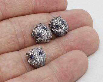 3 Pcs Micro Pave Leopard Beads, Gunmetal Cat Beads, Cubic Zirconia Leopard , Leopard Head Bads , Cz Pave Leopard, zrcn262