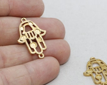 Raw Brass Hamsa Settings, 19x29mm  Hamsa Charms, Fatima Hand, Settings, SOM189