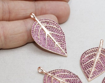 22k Micro Pave Leaf , Leaf Necklace, Cubic Zirconia Leaf , Ruby Leaf Necklace, Cz Jewelry, zrcn218