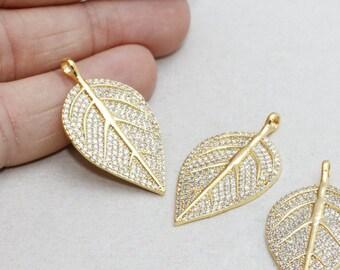 22k Micro Pave Leaf , Leaf Necklace, Cubic Zirconia Leaf , Leaf Necklace, Cz Jewelry, zrcn200