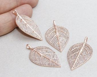 22k Micro Pave Leaf , Leaf Necklace, Cubic Zirconia Leaf , Leaf Necklace, Cz Jewelry, zrcn216