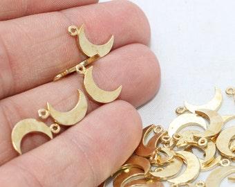 10 Pcs Raw Brass Moon Charms , Crescent moon charm, Small Moon Charm , 8x14mm , Mini Pendant Charms , SOM16