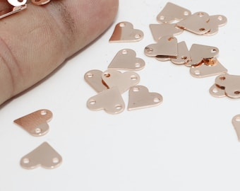 Rose Gold Plated Heart Charms, 9x10mm , Heart, Heart Coins, Stamp , Personalized , RD, ROSE386