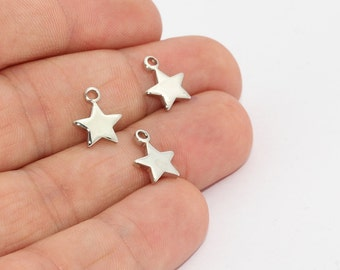 5 Pcs Silver Plated Star Pendant, Star Charms, Star Necklace, Star Jewelry, MTE871