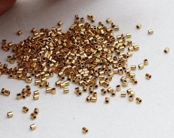 Jewelry Supplies Crimps BRT99 Crimp Tube Gold Plated Jewelry Findings 25 Pcs 2x2mm 24k Gold Plated Crimp Beads Small Crimp Tubes