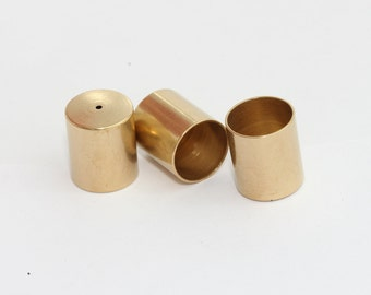 12 Pcs 3x8mm Raw Brass End Cap Cord End Solid Brass End Cap Tube End Cap,DS-RW-167