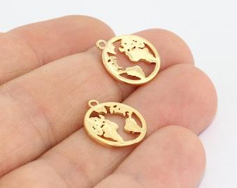 5 Pcs 24k Shiny Gold World Map Pendant, Globe Pendant, Earth Pendant, World Charms , 15x16mm , Travel Pendant, MTE503
