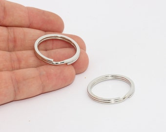 30mm Rhodium Plated Key Chain Ring, Split Keyring , Key Chain , Swivel Clasps , MTE887