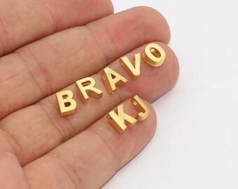 A,B,C,D,E..... 24k Matt Gold Letter Beads, Alphabet Beads , Letter Necklace, Personalized Letter