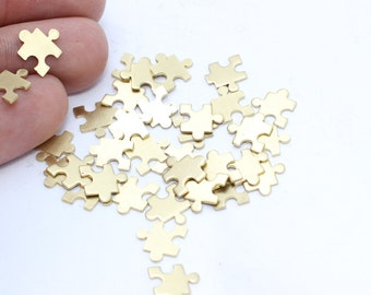 100 Pcs Raw Brass Stamping Blank Charms Charms Puzzle Charms Tiny Raw Brass Findings FNL39