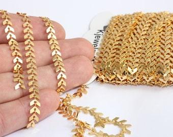 Enamel Chevron chain necklace Wrap bracelet. Minimalist Lampwork Flat Arrow Fishbone Layering necklace Feather Herringbone style chain