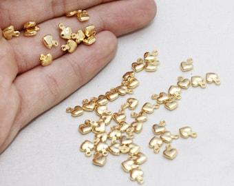 Heart Connector  BRT399 heart beads 5Pcs 7mm Heart Gold Plated Heart Charms