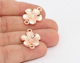 Rose Gold Daisy Bracelet Charm , 18x24mm Daisy Connector, Flower Charms, Daisy Leaf Charms , Clover Necklace, MTE859
