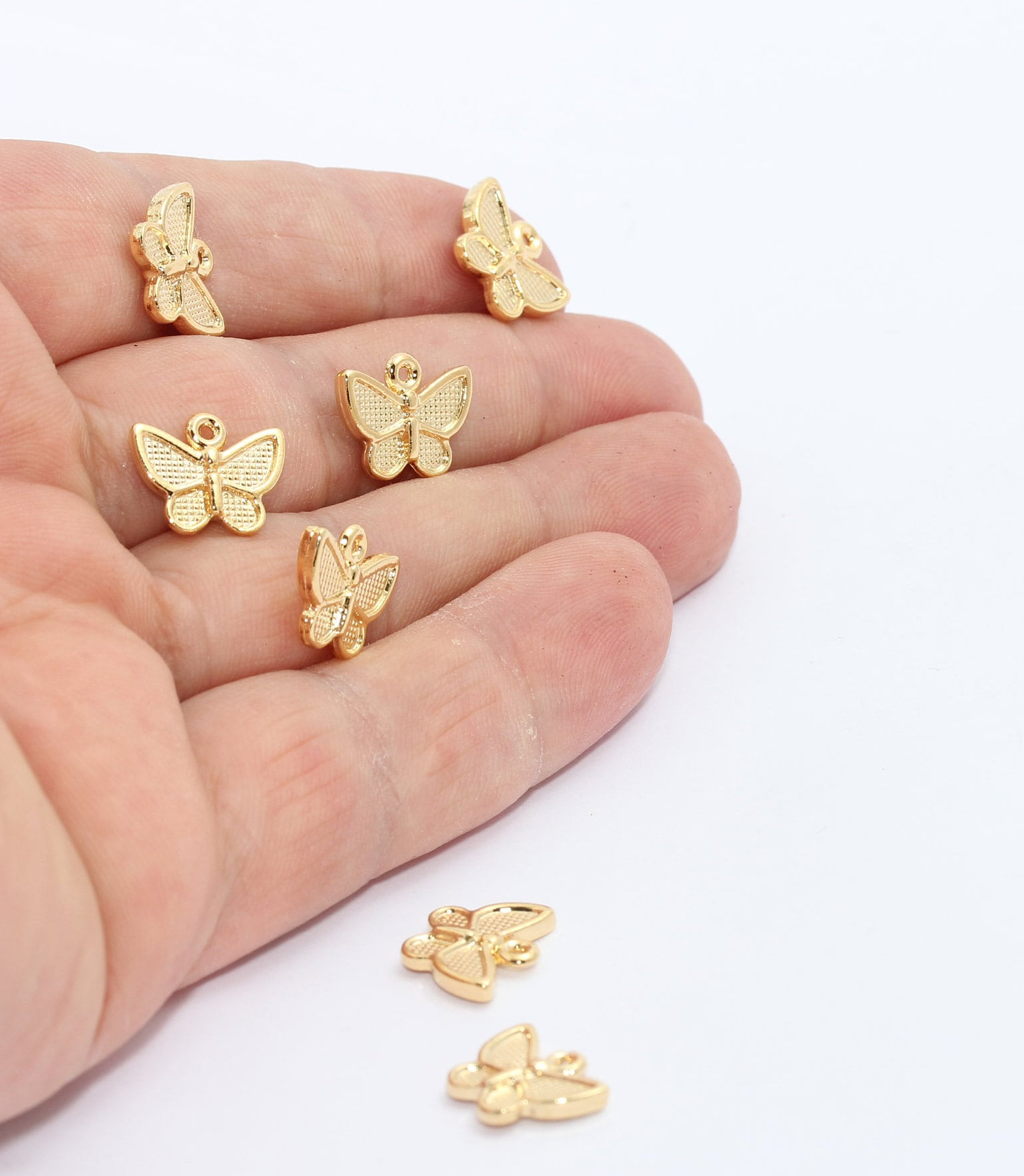 Charms 15x16 mm Pendant 1 Pieces     GM9-2 Polished Gold Plated Blue  Butterfly Pendant