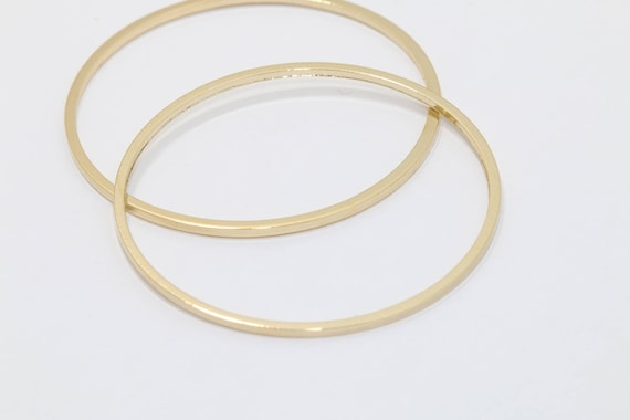 K1258G 4pcs-41mm Glassy Gold plated Brass Simple Round,Earring Loop Round Link jewelry pendant