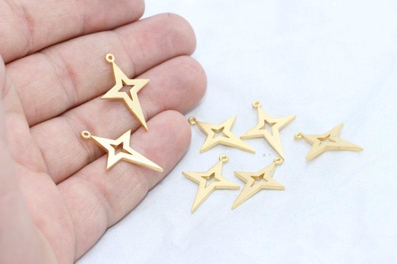 Charms 17x25mm 24k Matt Gold North Star Charm MTE34 North Star Pendant Star Charms Gold Plated Findings NP North Star Jewelry