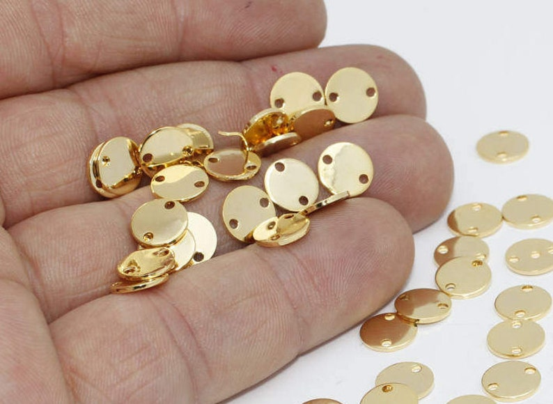BRT685 Two holes disc Stamping tag Stamped Disc Coins Stamp 8mm 24k Shiny Gold Disc