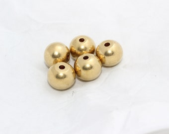 10 Pcs 17,5mm Raw Brass Beads, Solid Brass Beads, Round Beads, BDS14