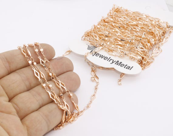 Filigree Chains Rose Gold Plated Chains Bulk Lot Chain 4x12,5mm Rose Gold Bar Chain Gold Soldered Chain Ankle Bracelet Chain BXB177