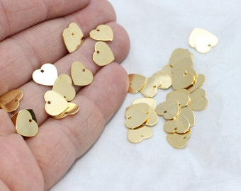 50 Pcs 24k Gold Plated Heart Charms, 9x10mm , Heart, Heart Coins, Stamp , Personalized,  RD, BRT118