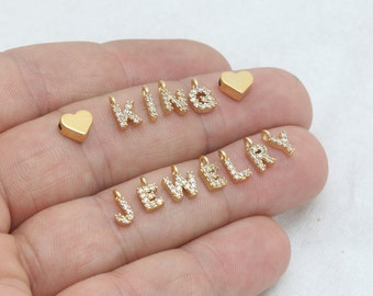 5x8mm 24k Shiny Gold Cz Letter Charms, Cz Letter, Zircon Letters, Gold Letter Charms, Personalized Necklace, Gold Plated Findings, HRF24