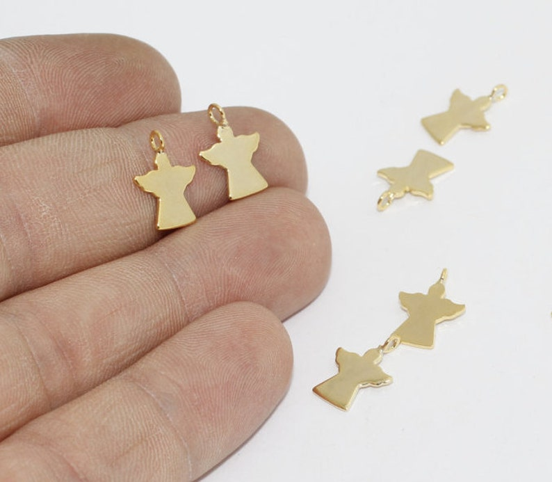 Gold Plated Findings Angel Pendant Tiny Angel Charm BRT20 Gold Dainty Charms Angel Jewelry 10 Pcs 10x13mm 24k Shiny Gold Angel Charm