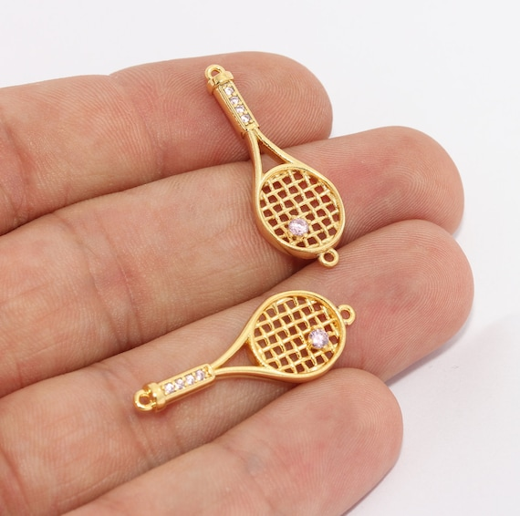 Bracelet Connector Tennis Racket Bracelet Tennis Racket Pendant Sport/'s Jewelry ZRCN842 11x30mm 24k Shiny Gold Charm CZ Bracelet Charm