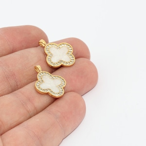 GLD326 11x15mm Shiny Gold Plated Enamel Clover Charms