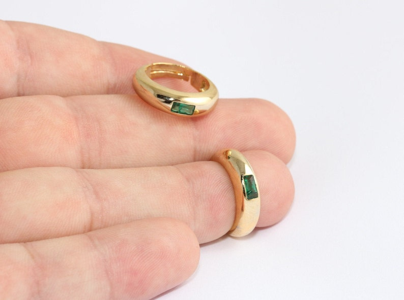 Dainty Rings Gold Plated Rings 16-17mm 24k Shiny Gold Micro Pave Rings CZ Stacking Rings Green Stone Tiny Rings MLS678