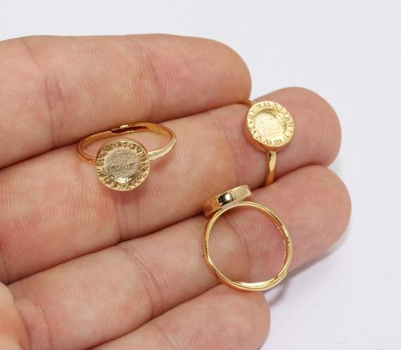 Circle Rings MLS263 17mm 24k Shiny Gold Rings Medallion Coin Rings Gold Plated Findings Gold Plated Rings Gold Statement Rings