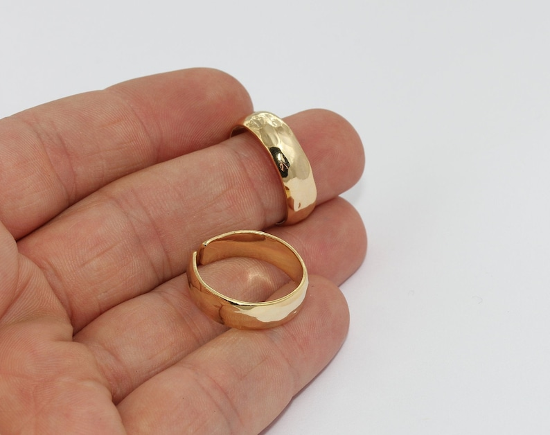 18-19mm 24k Shiny Gold Hammered Ring Gold Hammered Ring Band Rings Customized Ring Gold Statement Rings Gold Plated Rings BRT55