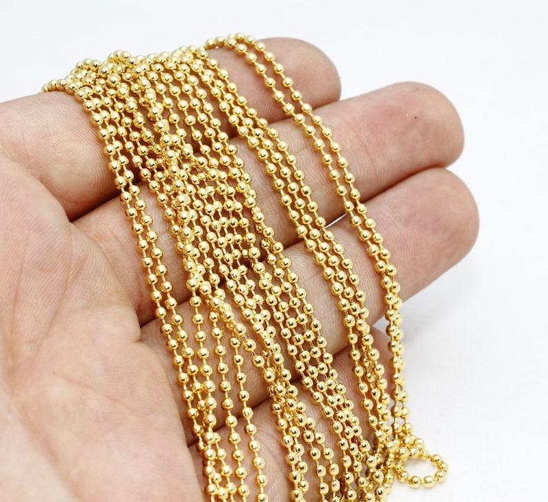 2fe8db280f4df 3,3 Feet 2mm Ball Chain ,Gold Plated Ball Chain , Gold Plated Chains , Ball  Chain, Bulk Ball Chain , BXB49