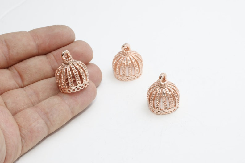FC Gold Plated Charms Gold Plated Supplies Metal Bead Caps Filigree End Caps 2 Pcs 19x23mm Rose Gold Tassel Cap Bead Cones ROSE350
