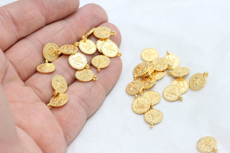 10 Pcs 10mm 24k Shiny Gold Ottoman Signature Coins, Round Flat Coins  Findings, Coin Charms, Ottoman Pendants, Gold Plated Findings, BRT86