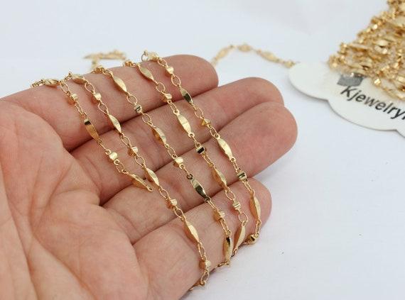 3,3 Feet 24k Shiny Gold Bar Chain 3x12mm Soldered Chain Choker Chain Bulk Chain Foot Chains