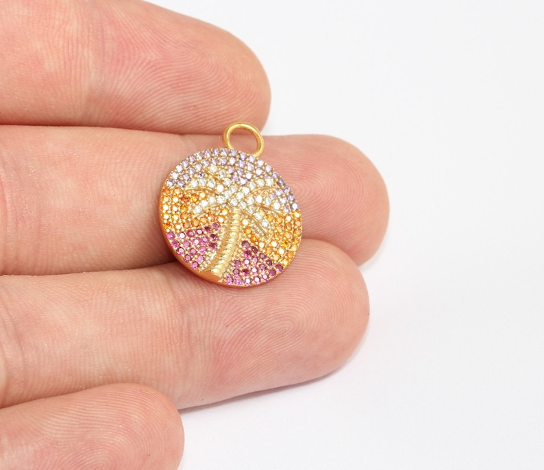 Gold Plated Findings 19x24mm 24k Shiny Gold Palm Pendant MLS754 CZ Palm Tree Charms Micro Pave Palm Tree Colorful Micro Pave Medallion