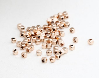 100 Pcs 4mm Rose Gold Plated Cube Beads, Square Tubes, Mini Spacer Beads, Tiny Square Beads, ROSE99