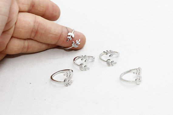Silver Laurel Ring FRY67 Silver Adjustable Ring Silver Leaf Ring Leaves Ring LW 3 Pcs 16-17mm Rhodium Plated Flower Rings