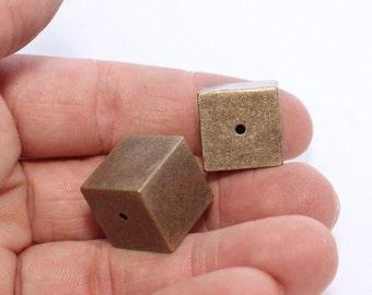 1 Pcs Antique Bronze Cube Necklace 16x16mm Bronze Cube Beads , ANS12