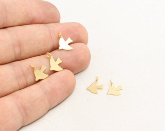 20 Pcs 9x10mm 24k Matt Gold Bird Pendant, Mini Bird Charms, Bird Jewelry, Dainty Necklace, Bird Charm, Gold Plated Charms, Pendants, BRT246