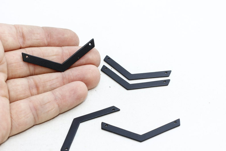 Chevron Blank ETS98 Triple Chevron Pendant Zigzag Pendant Stamping Blank Black Plated Charms 5x50mm Black Plated Chevron Pendant