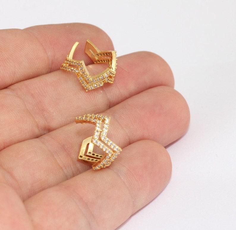 Non Pierced Ear Cuffs Chevron Earrings White Stone Cuff Earrings Gold Plated Earrings MLS69 24k Shiny Gold Micro Pave Ear Cuffs