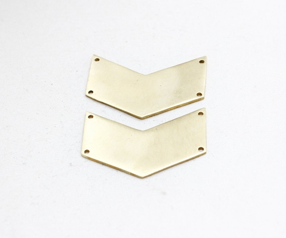 Raw Brass 5x50 mm Chevron Pendants 2 Hole Findings 50 Pcs