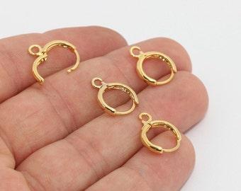 12x15mm 24k Shiny Gold Earrings, Leverback Earrings, Leverback Ear Hoops, Earring Findings, Hoops, Gold Plated Findings, lbe, LBM, CHK486