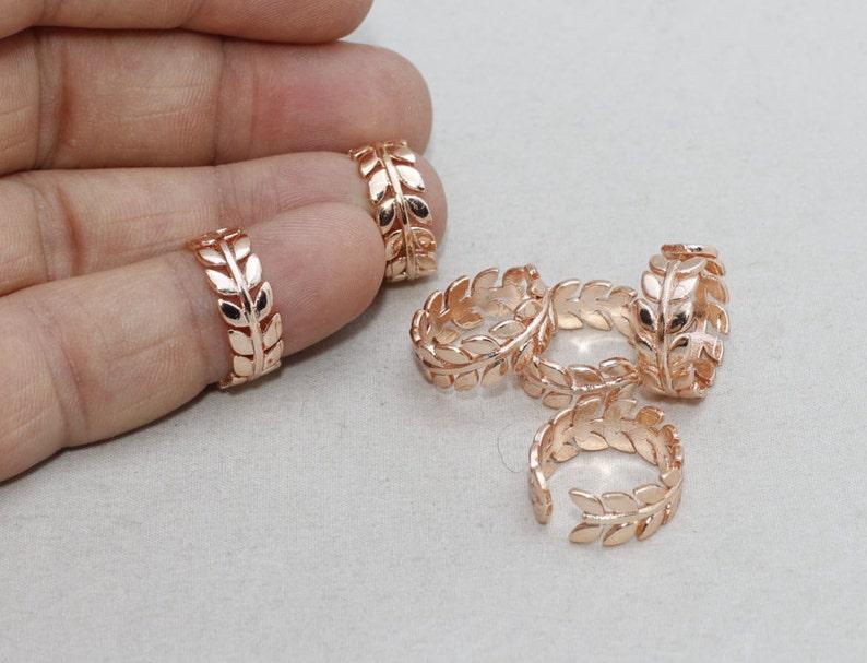 Rose Gold Leaf Ring ROSE104 Rose Gold Adjustable Ring LW Ring Rose Laurel Ring Leaves Ring 16-17mm Rose Gold Flower Rings