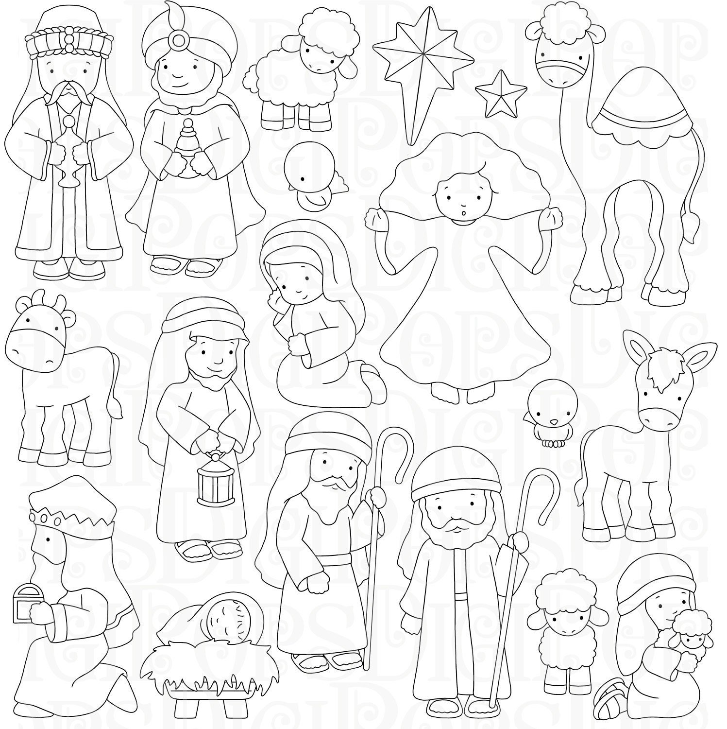 Nativity Digital Clip Art Set and Coloring Pages Personal ...