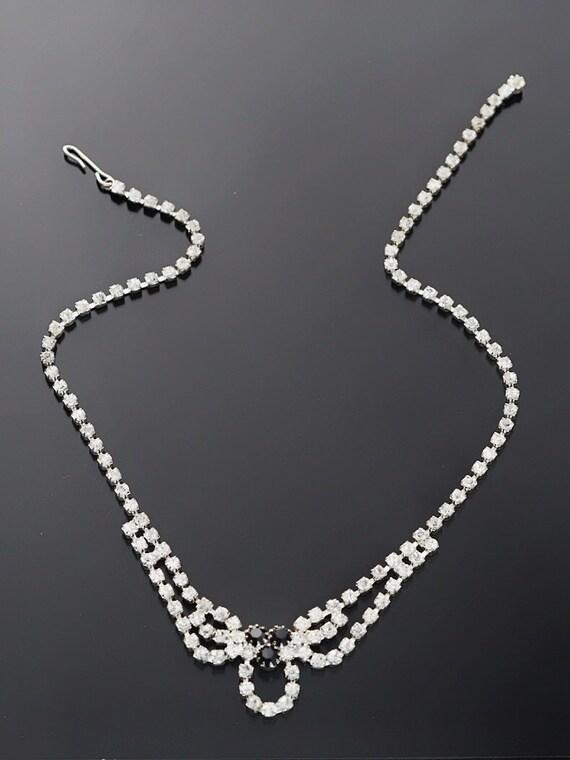 Vintage Art Deco Rhinestone Necklace and Earrings Set on Etsy by APURPLEPALM
