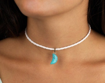 Choker Necklace Faux Turquoise Moon White Braided Leather Boho Jewelry Accessory